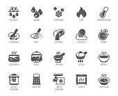 Icons set of household appliances, utensils and labels on culinary theme in flat style. Vector collection