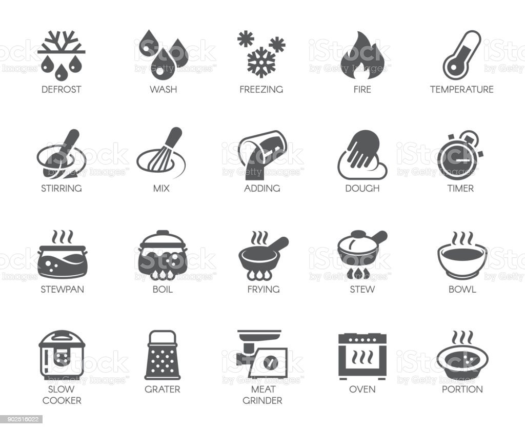 Icons set of household appliances, utensils and labels on culinary theme in flat style. Vector collection vector art illustration