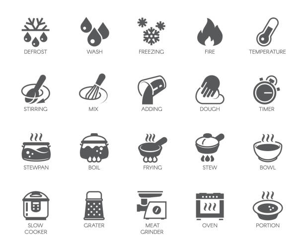 Icons set of household appliances, utensils and labels on culinary theme in flat style. Vector collection Icons set of household appliances, utensils and labels on culinary theme in flat style. Big vector collection of 20 cooking food graphic pictograms isolated on white background oven stock illustrations