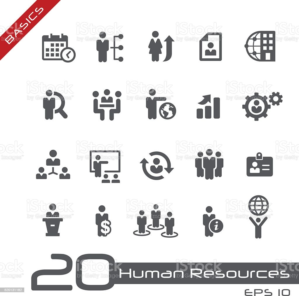 Icons Set of Human Resources and Business Management - Basics vector art illustration