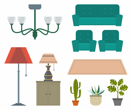 Icons set of interior. Design trendy furniture with different models of lamp, chair sofa, carpet, cactus and monstera leaf. Furniture and elements for living room, bedroom, kitchen, bathroom, office.