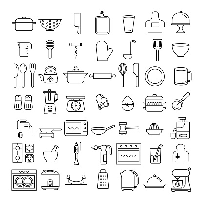 52 icons set of kitchenware, home appliance symbol, sign, flat design, thin line design element, kitchen tools,  business