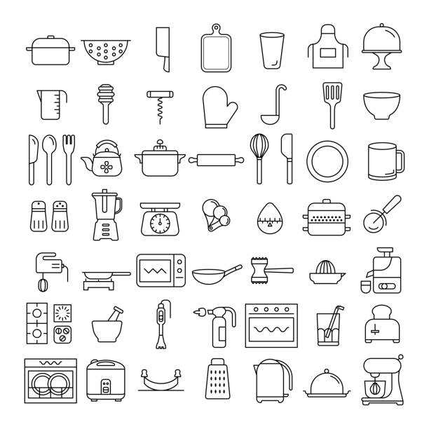 52 icons set of kitchenware, home appliance symbol, sign, flat design, thin line design element, kitchen tools,  business vector, illustration, kitchen collection kitchenware department stock illustrations