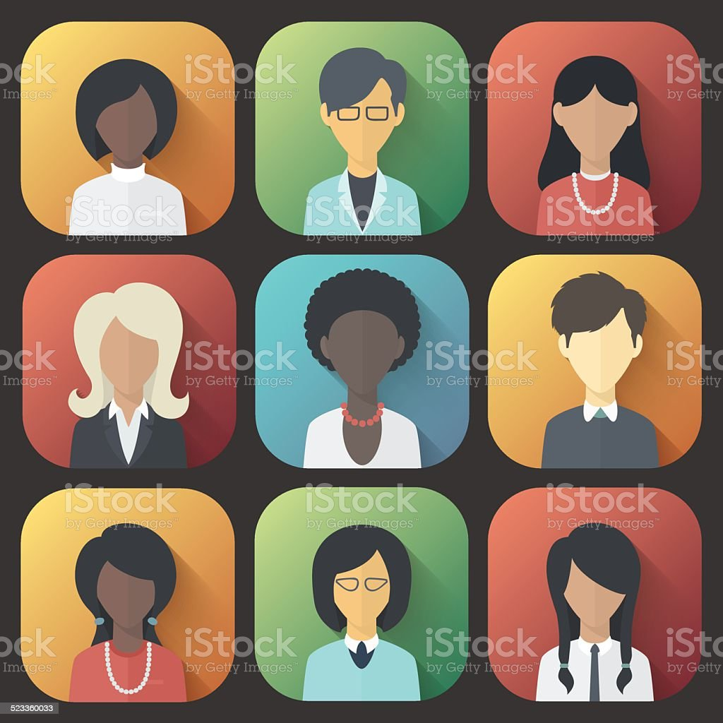 Icons Set of Persons Female Different Ethnic vector art illustration