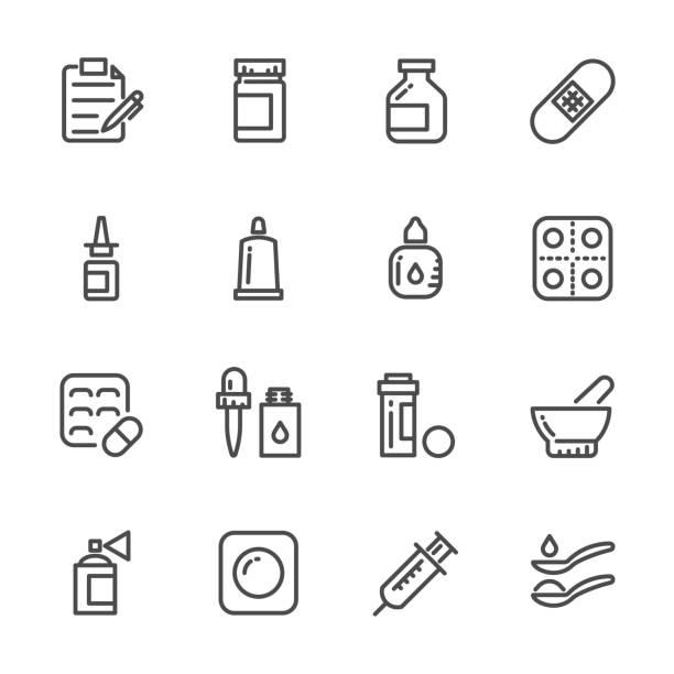 illustrazioni stock, clip art, cartoni animati e icone di tendenza di icons set of pills. vector line icons - dose