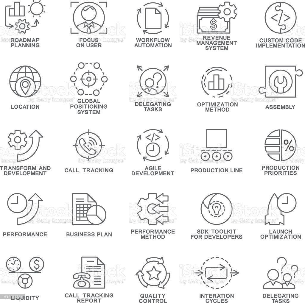 Icons set of production management. The thin contour lines. vector art illustration