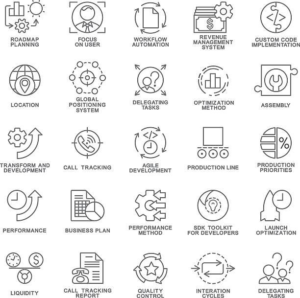 Icons set of production management. The thin contour lines. vector art illustration