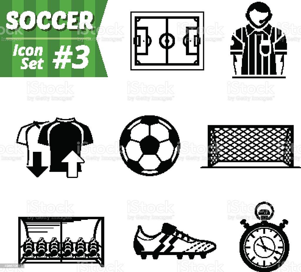 Icons set of soccer elements vector art illustration