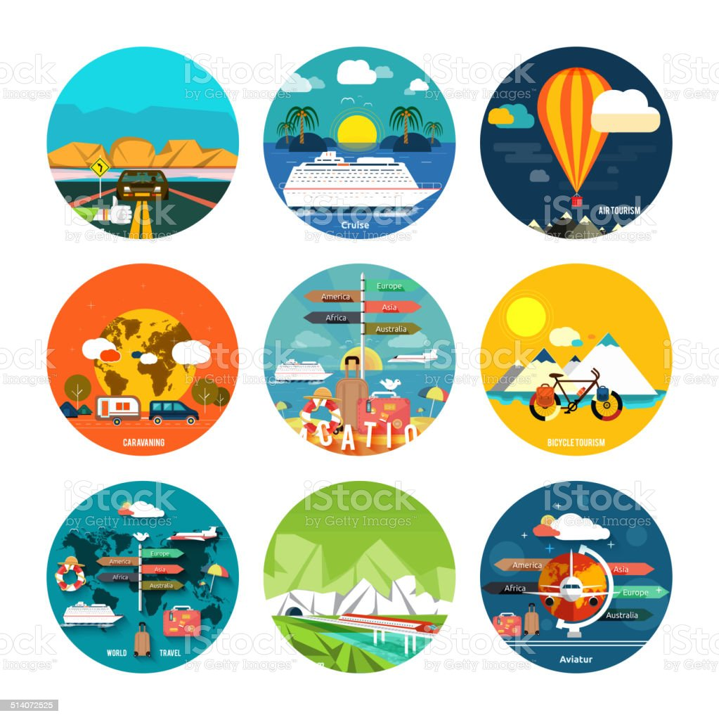 Icons set of traveling and planning a summer vacation vector art illustration