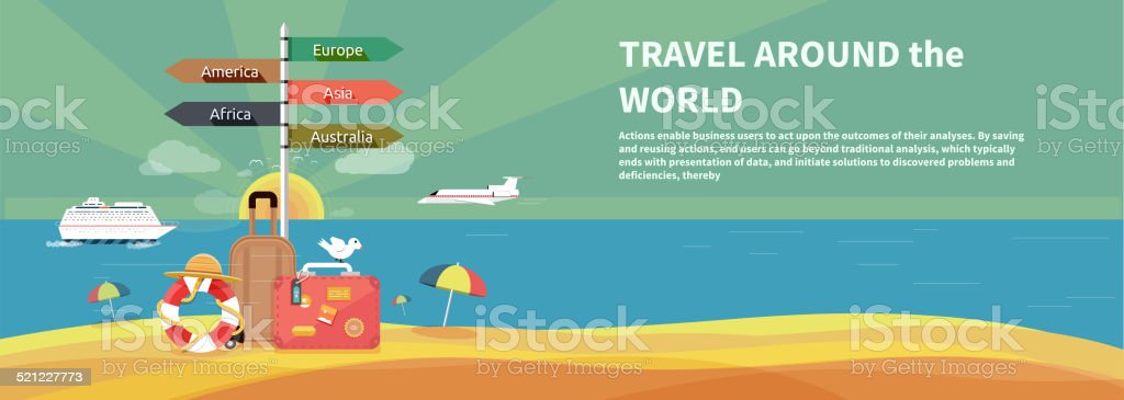 Icons set of traveling and planning vacation vector art illustration