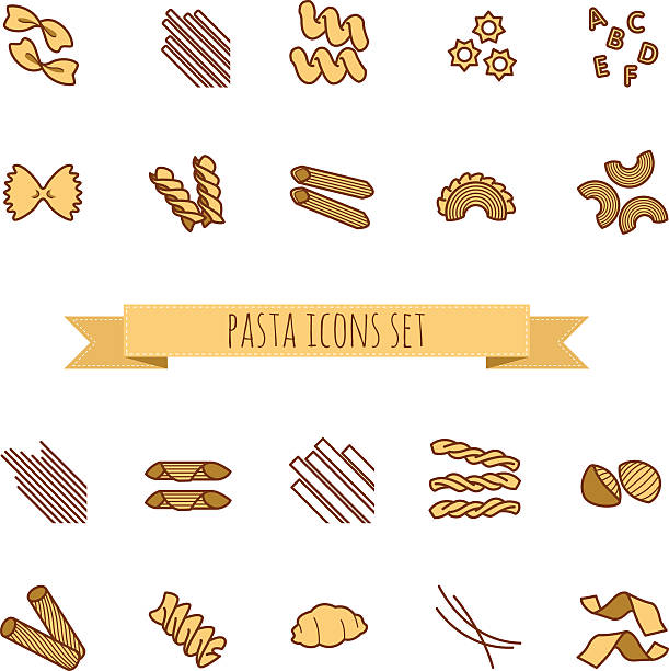 icons set of various pasta shapes icons set of various pasta shapes for your design conchiglie stock illustrations