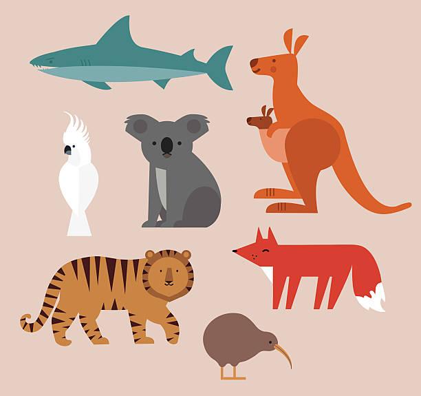 bildbanksillustrationer, clip art samt tecknat material och ikoner med icons set of vector animals - kivik