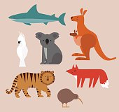 Icons set of vector animals