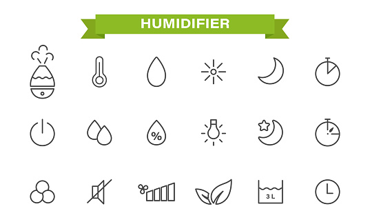 Icons set on the theme of the humidifier. linear style. humidifier, air humidity, timer, temperature, backlight,silent mode, night mode, capacity size. isolated on a white background.Vector illustration