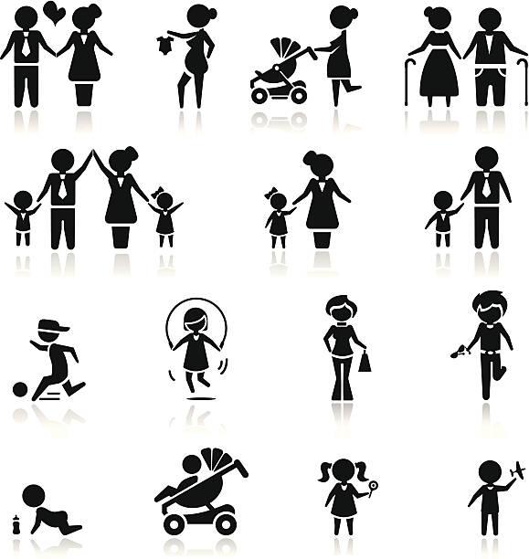 zestaw ikon i rodziny pracowników - maluch stock illustrations