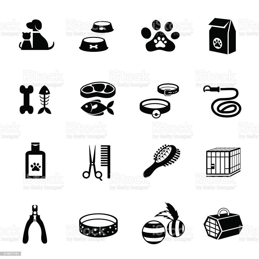 B&W icons set : Pet, Cat & Dog Object vector art illustration
