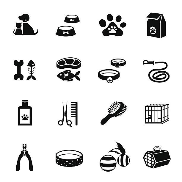 b &w のアイコンセット:pet 、cat &犬オブジェクト - ペットショップ点のイラスト素材/クリップアート素材/マンガ素材/アイコン素材