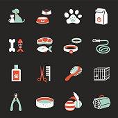 Icons set : Pet, Cat & Dog Object
