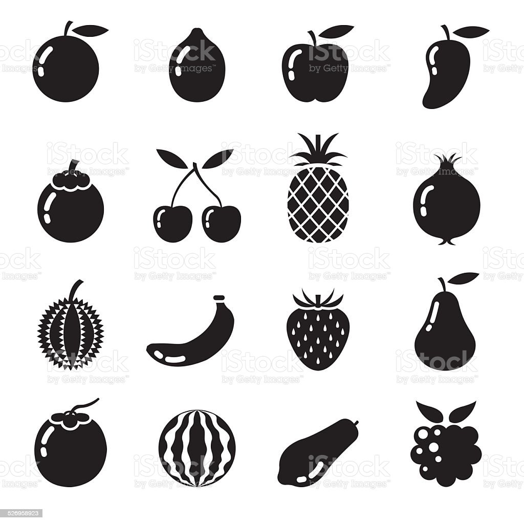 B&W Icons Set : Piece of Fruits vector art illustration
