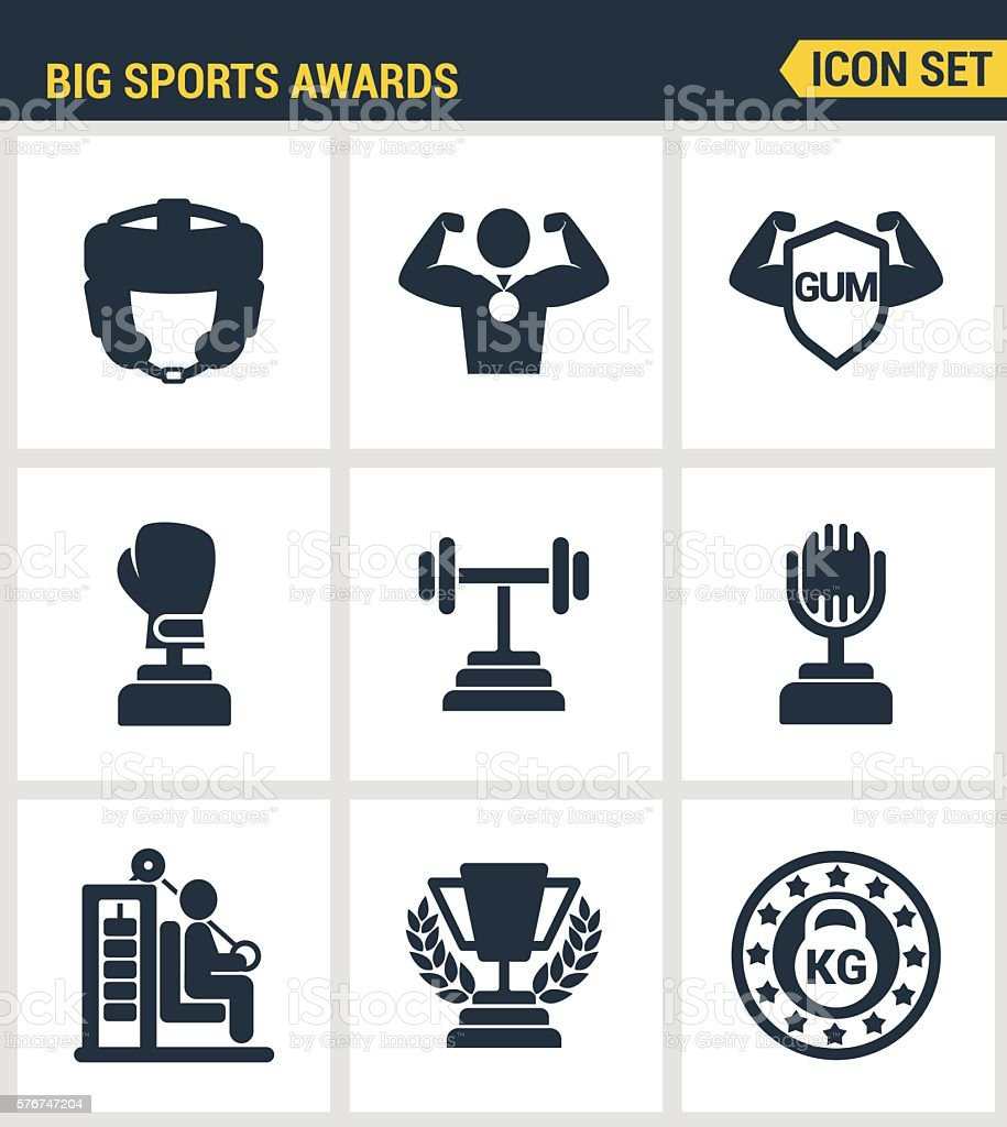 Icons set premium quality of big sports awards championship champ vector art illustration