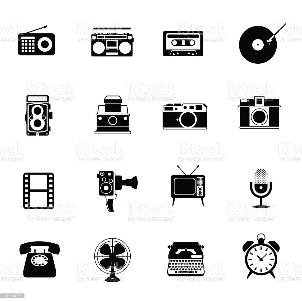 bw icons set retro electronic analogue entertainment camera clip art black and white png Victorian Birds Clip Art BW