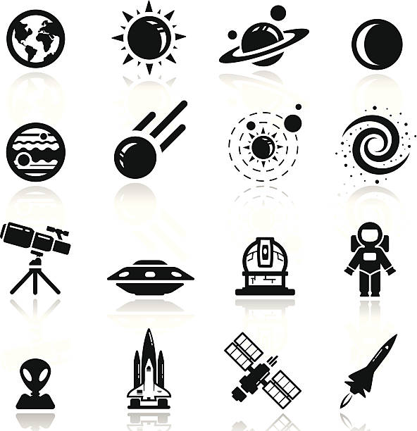 Icons set space vector art illustration