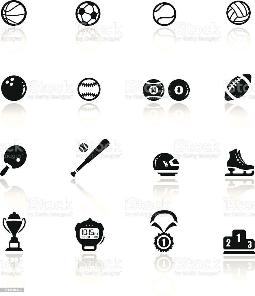Icons set sports and games vector art illustration