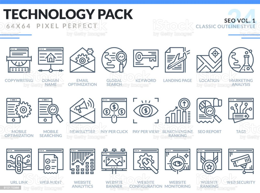 SEO Icons Set. Technology outline icons pack. Pixel perfect thin line vector icons for web design and website application.