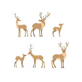 Cartoon forest animal line icon. Cute animals icons set - deer, fallow deer, fawn. Childish print for nursery, kids apparel, poster, postcard, pattern.
