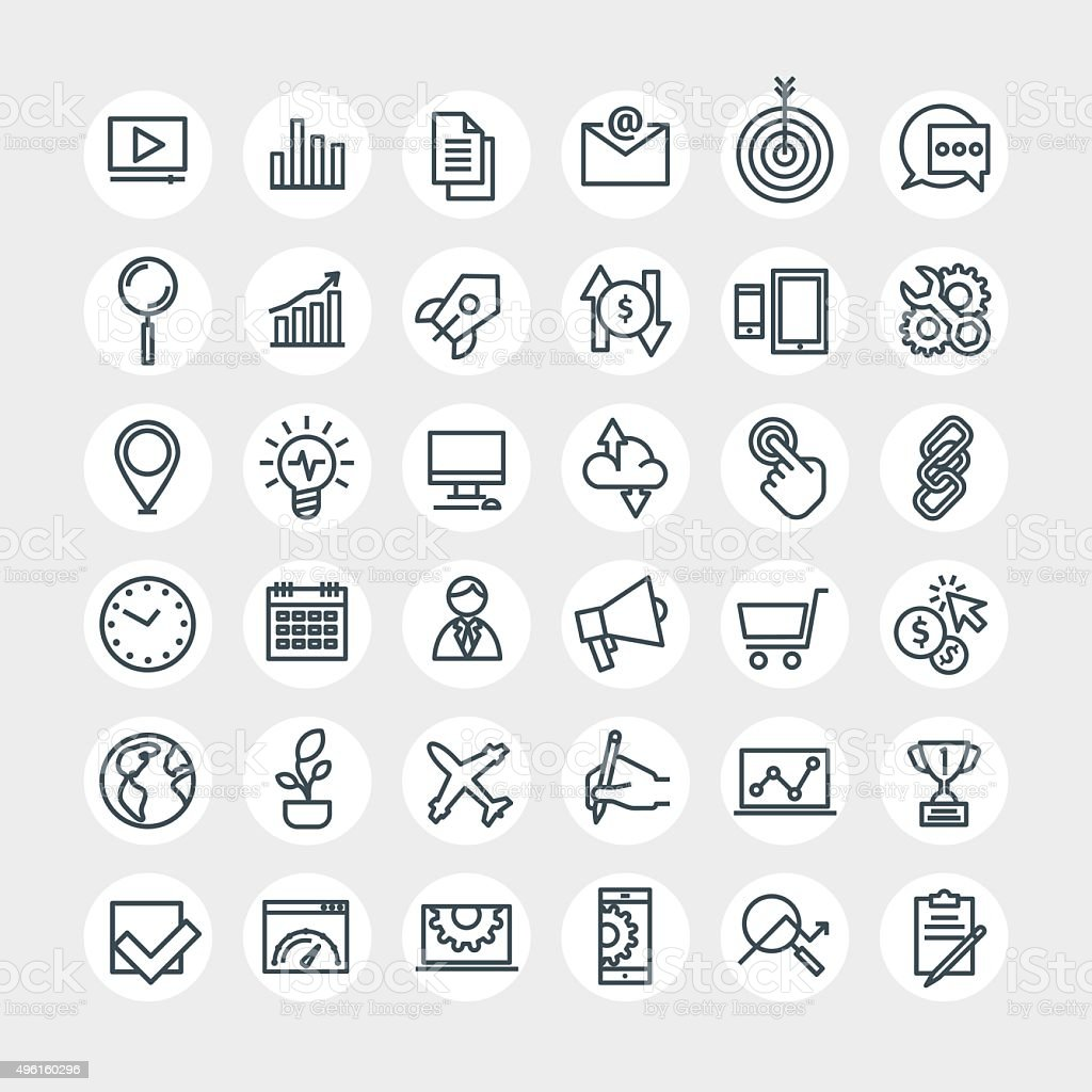 SEO icons set vector art illustration