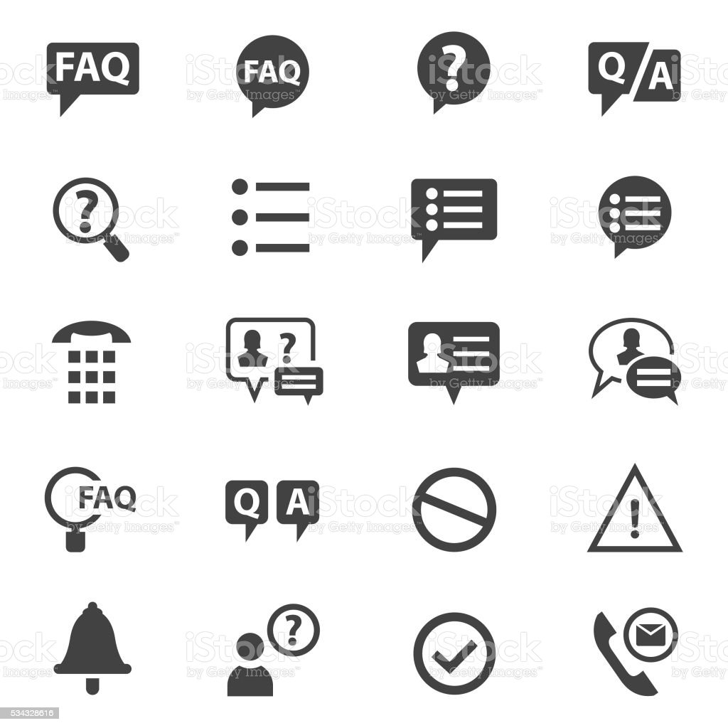 FAQ icons set vector art illustration
