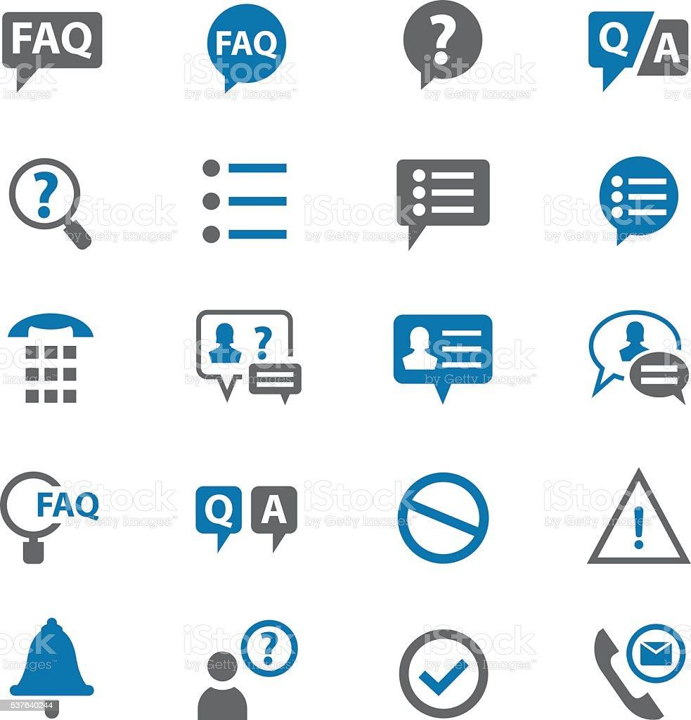 FAQ icons set vector art illustration