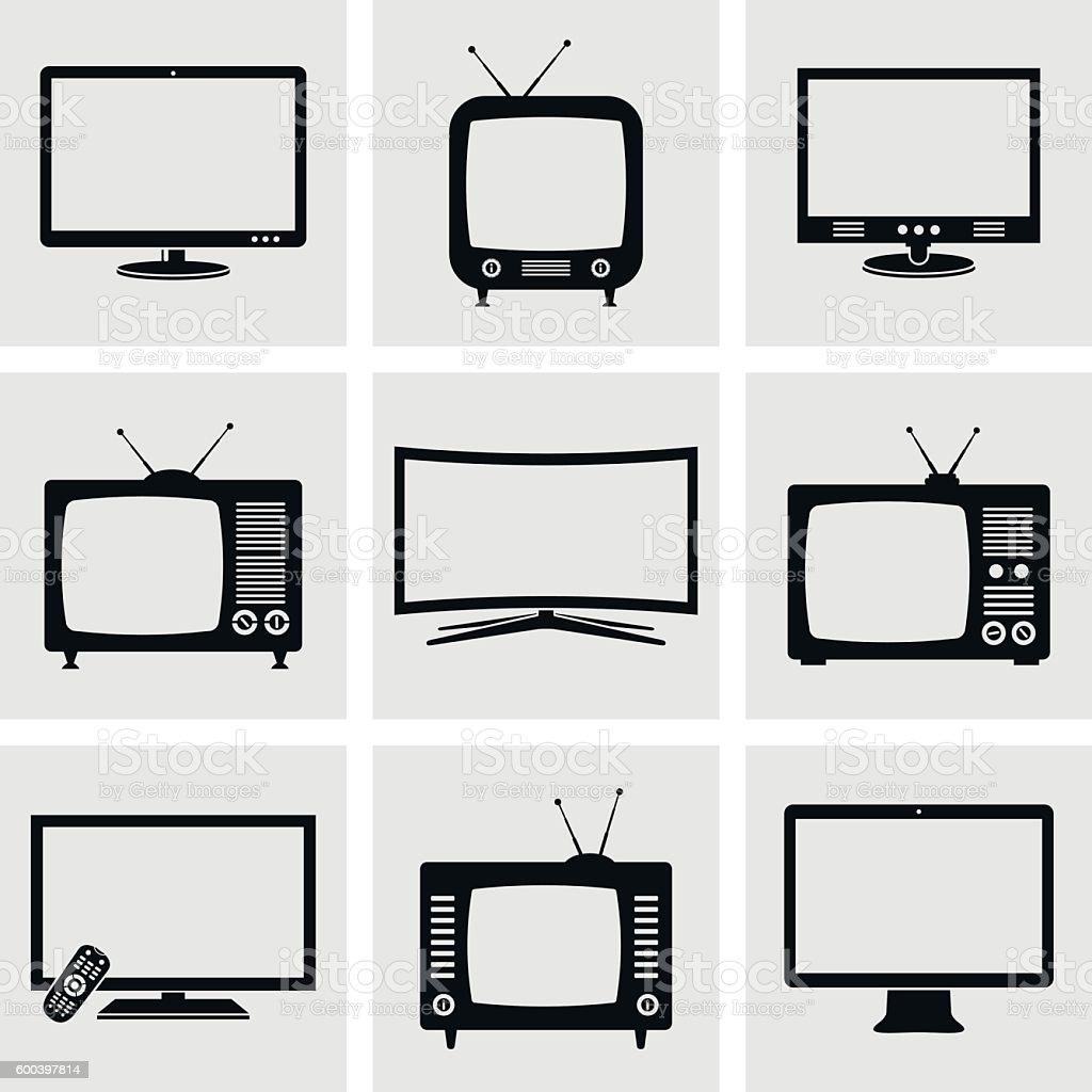 TV icons set vector art illustration