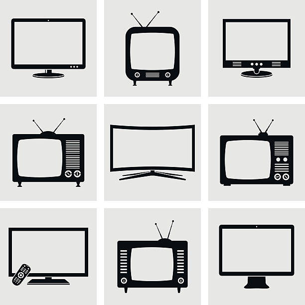 TV icons set Modern and retro TV icons set. Vector illustration. television set stock illustrations