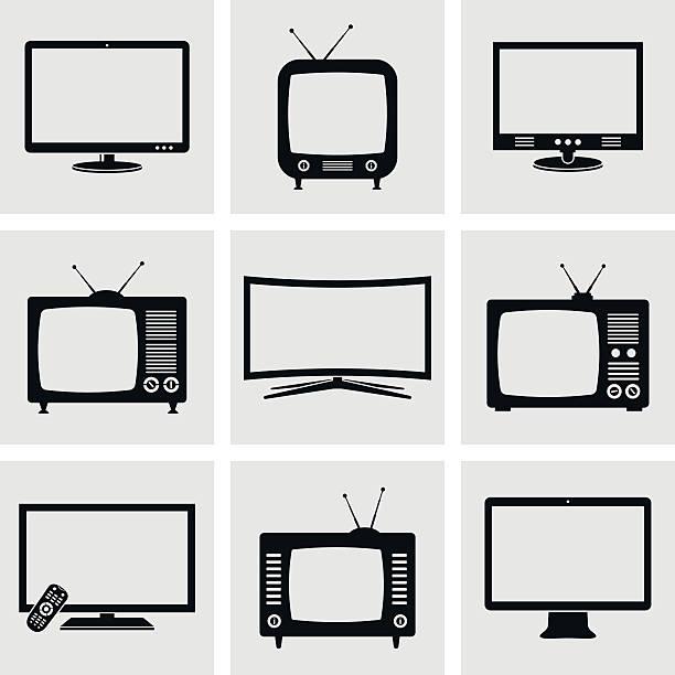 tv-icon-set - bildschirme stock-grafiken, -clipart, -cartoons und -symbole