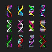 Color DNA icons set vector illustration, eps10