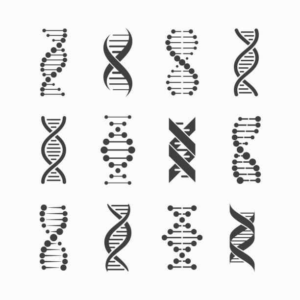 dna icons set - bio tech stock illustrations, clip art, cartoons, & icons