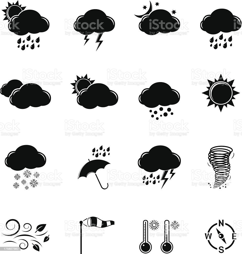 Icons set Weather royalty-free icons set weather stock vector art & more images of black color