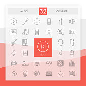 MUSIC 32 icons set with flat abstract design isolated on white background. Vector illustration.