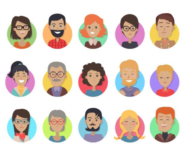 ilustraciones, imágenes clip art, dibujos animados e iconos de stock de iconos establecidos con personas sonrientes de diferente edad - cabello negro