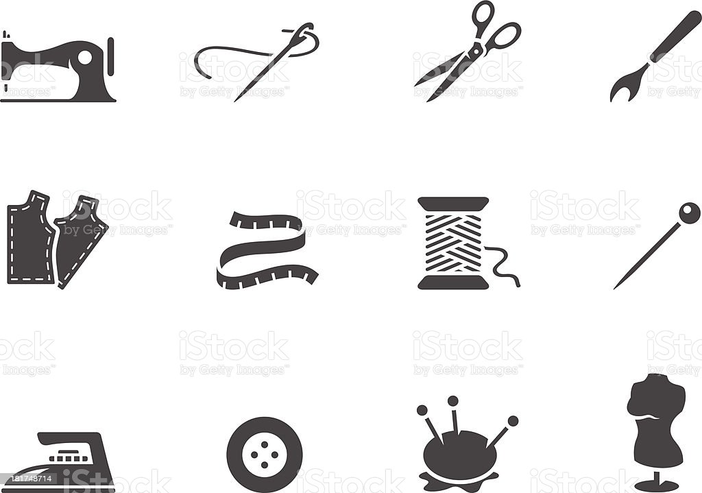 BW Icons - Sewing vector art illustration