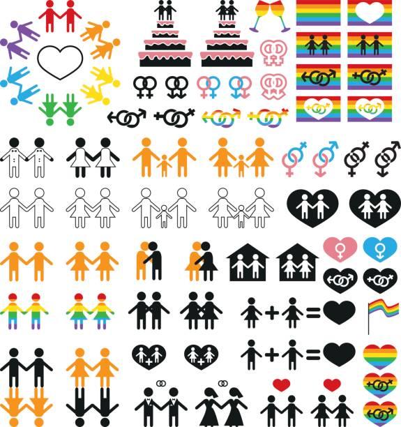 ilustrações, clipart, desenhos animados e ícones de lésbicas e gays de minorias sexuais de ícones - casais do mesmo sexo