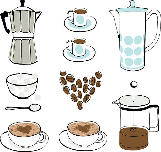 Icons showing different elements of coffee love vector art illustration