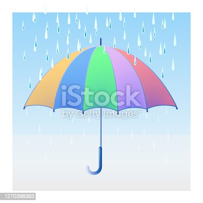 istock Icons - sketches of weather and seasons in the form of an umbrella and weather symbol 1270398363