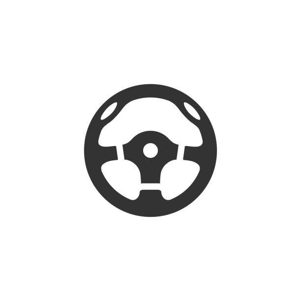 BW Icons - Steering wheel Steering wheel icon in single color. Car automobile auto transportation speed sport accessories steering wheel stock illustrations