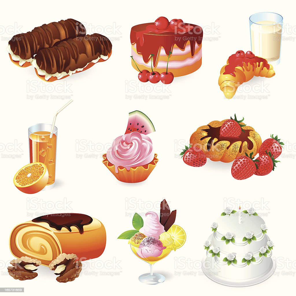 Icons - Sweet Foods and Drinks 3D series vector art illustration