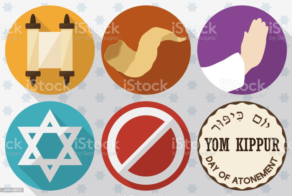 Icons To Celebrate Jewish Yom Kippur Or Day Of Atonement Stock