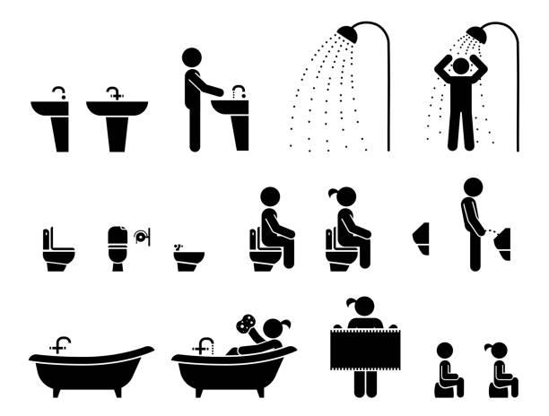トイレのアイコン。トイレのラベル。 - 体 洗う点のイラスト素材/クリップアート素材/マンガ素材/アイコン素材