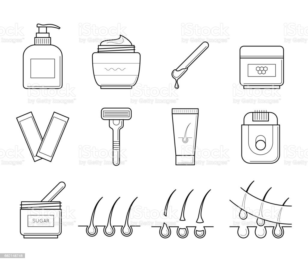 Icons tools for hair removal. vector art illustration