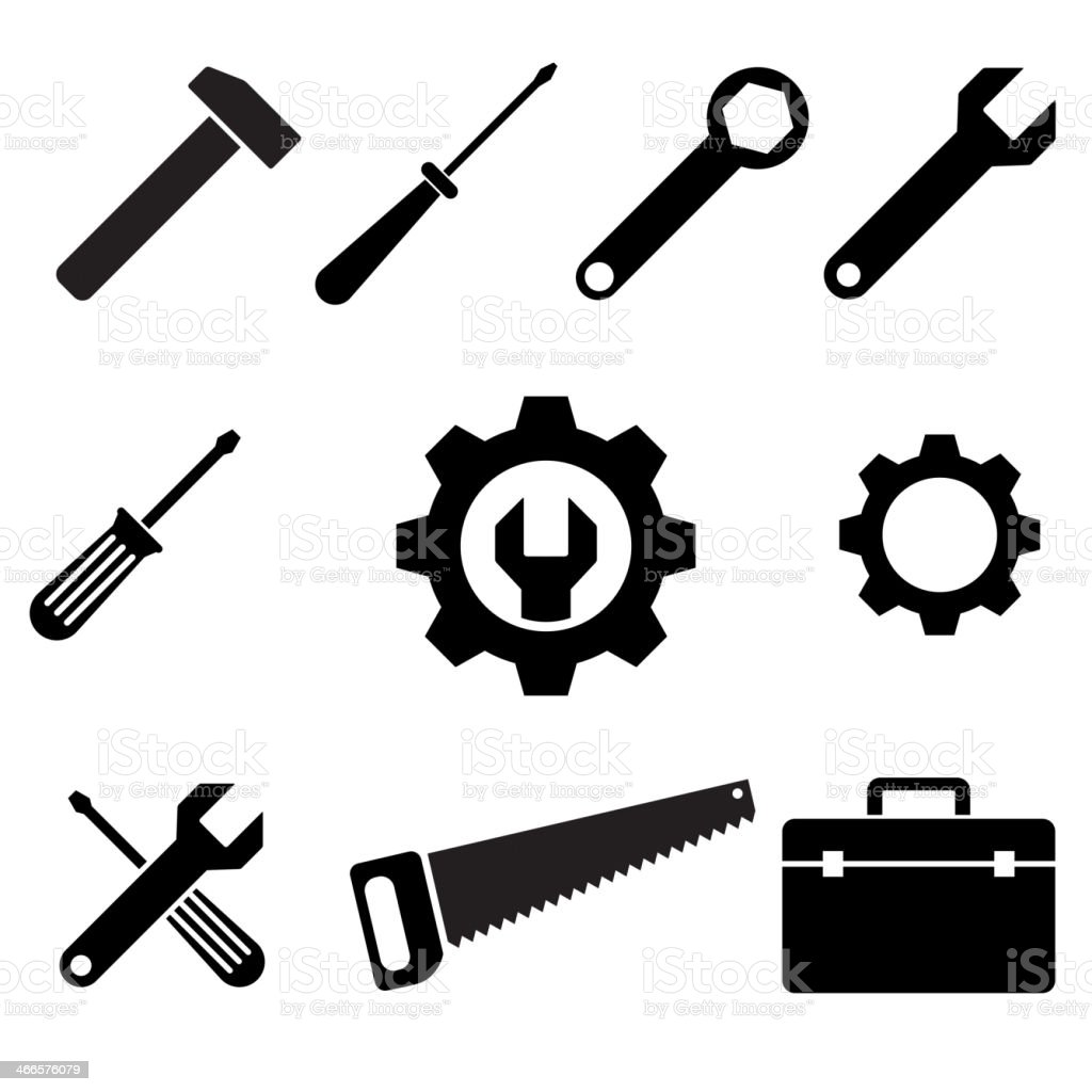 icons tools vector art illustration